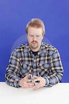 Man Mixes Cards Stock Photos - Image: 14027103