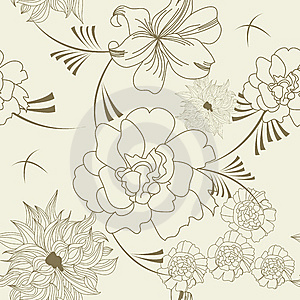 Floral Seamless Wallpaper Stock Photo - Image: 14027650