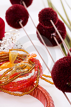 Red Bracelet, Orange And Red Flowers Royalty Free Stock Images - Image: 14027939
