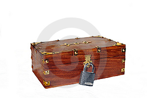 Wooden Trunk With Lock Stock Images - Image: 14028404