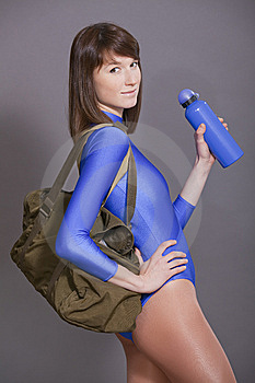 Woman With Sport Bag And Bottle Stock Photos - Image: 14028753