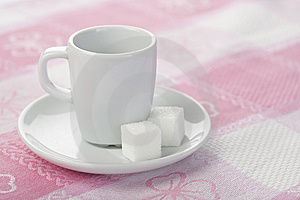 Espresso Cup On Tablecloth Stock Photos - Image: 14031253