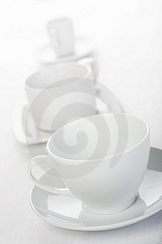 Three Cups On Tablecloth Royalty Free Stock Images - Image: 14031279