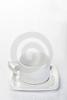 Teacup On White Tablecloth Royalty Free Stock Photography - Image: 14031337