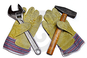 Hammer, Wrench And Work Gloves Royalty Free Stock Photography - Image: 14032437