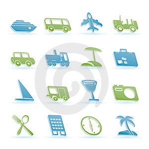 Travel, Transportation, Tourism And Holiday Icons Royalty Free Stock Photos - Image: 14032698