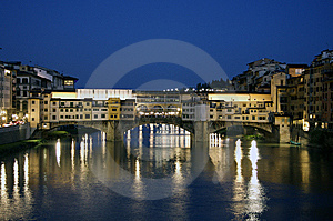 Florence, Old Bridge At Night Stock Photos - Image: 14038703