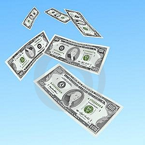 100 Dollars Notes Fall Royalty Free Stock Photography - Image: 14039177