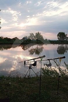 Fishing Rods And Sunrise Stock Images - Image: 14039944