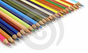 Pencils Of Various Colors In Diagonal Stock Images - Image: 14040994