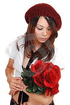 Chinese Girl Kneeling In Black Dress. Stock Photos - Image: 14041843