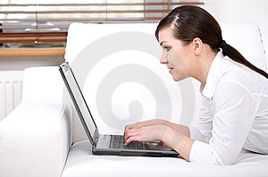 Woman With Laptop Royalty Free Stock Image - Image: 14041976