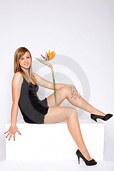 Young Beautiful Woman With Flower Royalty Free Stock Photos - Image: 14043258