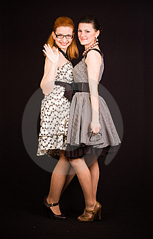 Two Girls In Dresses Stock Image - Image: 14044601