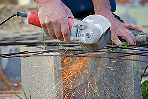 Sparks With Metal Grinder Stock Photo - Image: 14044840