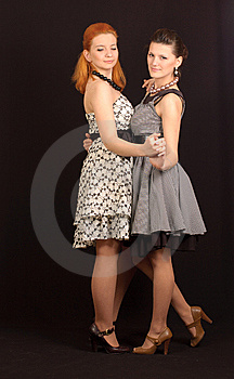 Two Girls In Dresses Stock Images - Image: 14045214