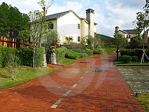 The House And Red Road Royalty Free Stock Photography - Image: 14048897