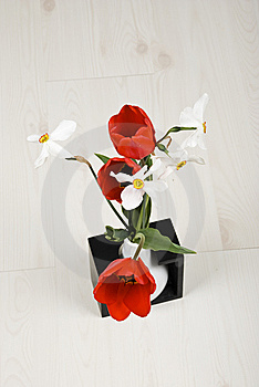 Top View Of Spring Flowers In A Vase Stock Images - Image: 14049244