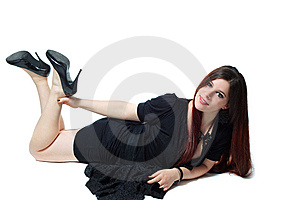 Lying Pin-up Girl In Black Isolated On White Stock Photo - Image: 14050440
