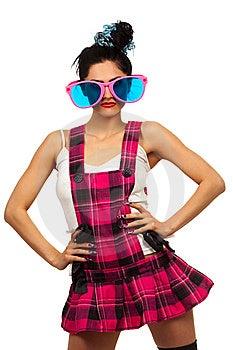 Girl Wearing Large Pink Eyeglasses Royalty Free Stock Images - Image: 14050639