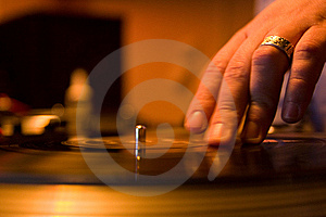 Hand on a mixing controller Royalty Free Stock Photography