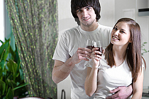 Girl With Smile And Boy With Wineglasses Stock Photography - Image: 14052362