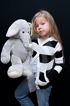 Little Girl With Elephant Royalty Free Stock Images - Image: 14052939