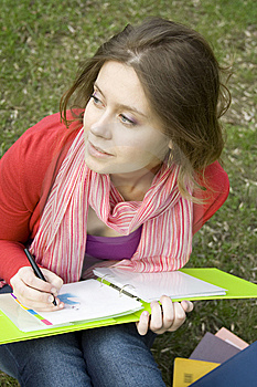 Female In The Park Draws Royalty Free Stock Image - Image: 14053236