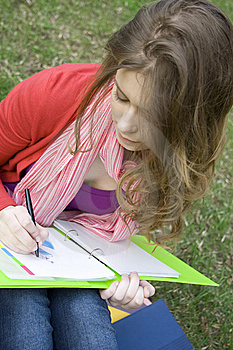 Female In The Park Draws Stock Photography - Image: 14053252