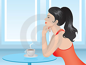 Lady In Red Drinking Coffee Stock Image - Image: 14054091