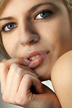 Model Biting Her Fingernail Royalty Free Stock Photo - Image: 14054255
