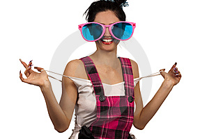Girl Wearing Large Pink Eyeglasses Stock Photography - Image: 14054882