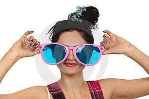Girl Wearing Large Pink Eyeglasses Royalty Free Stock Photography - Image: 14055207