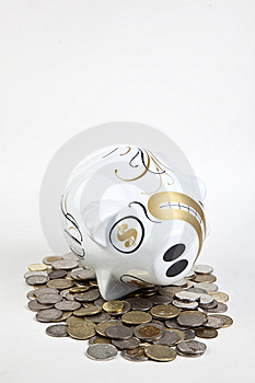 Piggy Bank And Money Royalty Free Stock Image - Image: 14056746