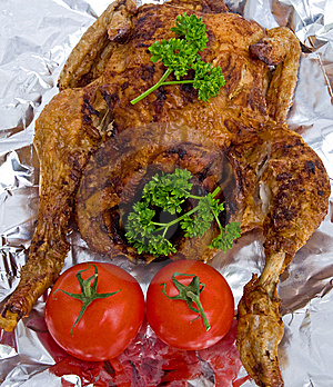 Roast Chicken Decorated With Parsley. Stock Photo - Image: 14061680