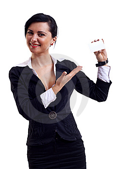Businesswoman Presenting Card Stock Photography - Image: 14064942