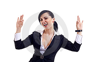Woman Showing Signs Of Success Royalty Free Stock Image - Image: 14064966