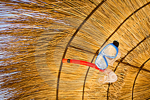 Mask And Snorkel Suspended Under Sunshade Royalty Free Stock Photography - Image: 14068537