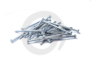 Pile Of Iron Nails. Isolated On The White Royalty Free Stock Photography - Image: 14069217