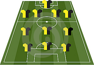 Football Soccer Field Pitch With Player Jerseys Royalty Free Stock Photo - Image: 14076055