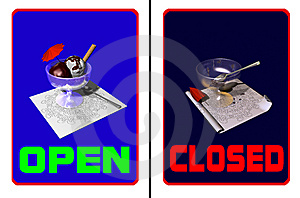 Ice Cream Parlor Open-closed Royalty Free Stock Image - Image: 14077596