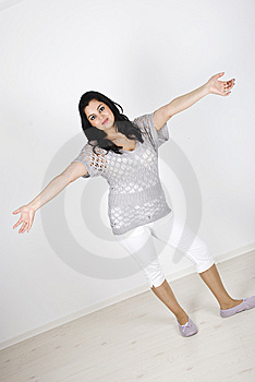 Beautiful Woman With Open Arms Royalty Free Stock Photo - Image: 14077645