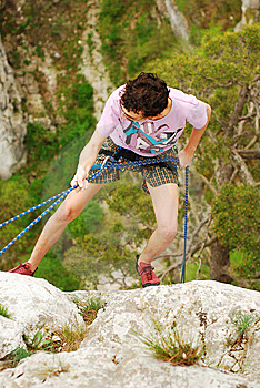 Climber Rappelling Royalty Free Stock Image - Image: 14077786