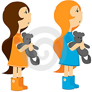 Two Little Girls With Toy Bears Stock Photo - Image: 14078240