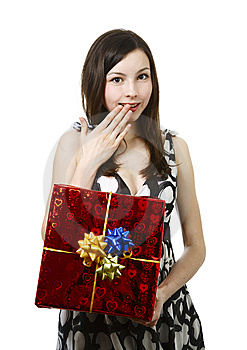 Girl With Gift Royalty Free Stock Photo - Image: 14079265