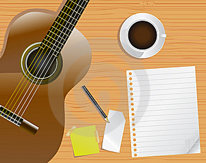 Page, Desk And Guitar Royalty Free Stock Image - Image: 14087956