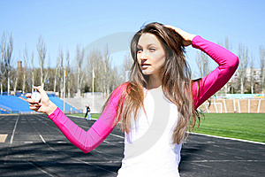 Young Woman At The Sport Competition Royalty Free Stock Photography - Image: 14088307