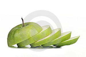 Sliced Juicy Granny Apple Stock Images - Image: 14091144