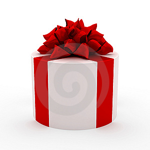 White Gift With Red Ribbon Stock Image - Image: 14092991