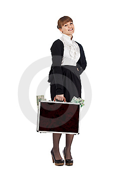 Girl Win Lots Of Money Royalty Free Stock Images - Image: 14094059
